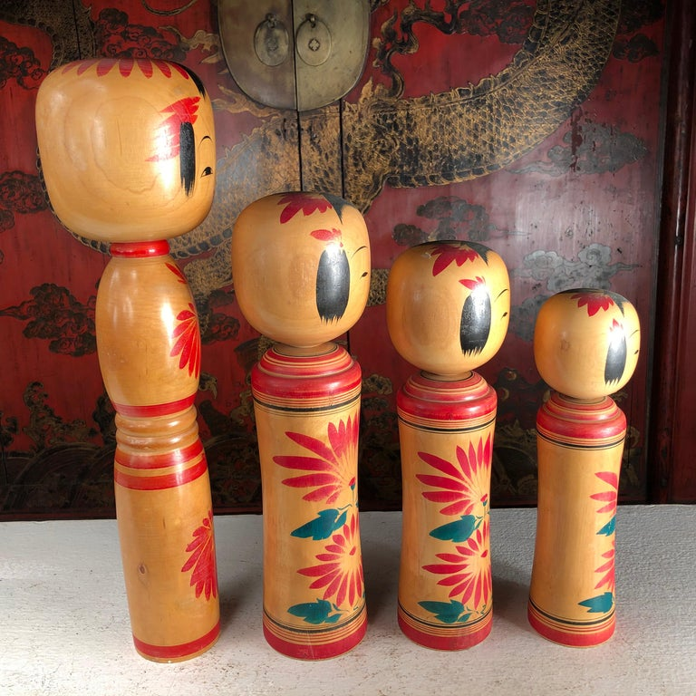Wood Japan Family Four Big Old Japanese Famous Kokeshi Dolls, Hand Painted, Signed For Sale