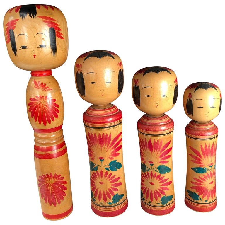 Japan Family Four Big Old Japanese Famous Kokeshi Dolls, Hand Painted, Signed For Sale