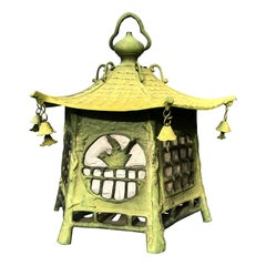 "Japan Fine Antique Cast Bronze ""Birds Birds"" Lantern Extraordinary Details"