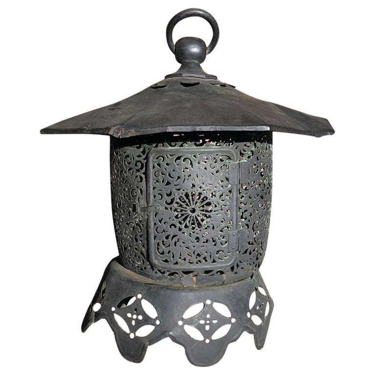 "Japan Fine Antique Hand-Hammered ""Imperial Chrysanthemum"" Garden Lantern For Sale"