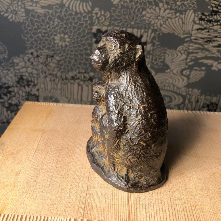 Japan Fine Antique Monkey Family Bronze, Signed Early Gem For Sale 3