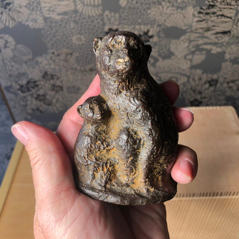 Taisho Japan Fine Antique Monkey Family Bronze, Signed Early Gem For Sale