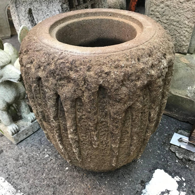 Taisho Japan Fine Old Hand-Carved Tsukubai Water Basin Planter For Sale
