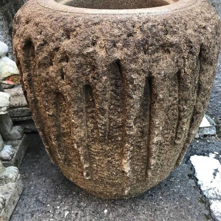 Japanese Japan Fine Old Hand-Carved Tsukubai Water Basin Planter For Sale