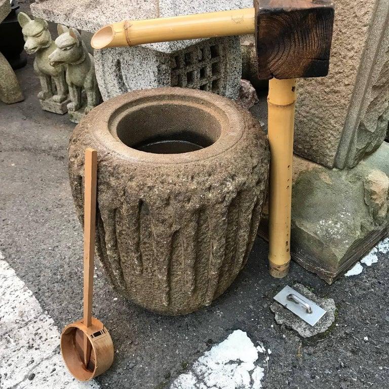 Stone Japan Fine Old Hand-Carved Tsukubai Water Basin Planter For Sale