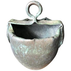 Japan Fine Old Hand Forged & Riveted Bronze Bucket Planter-200 Years Old