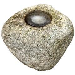 """Japan Fine Old """"Natural Boulder"""" Stone Water Basin Planter"""
