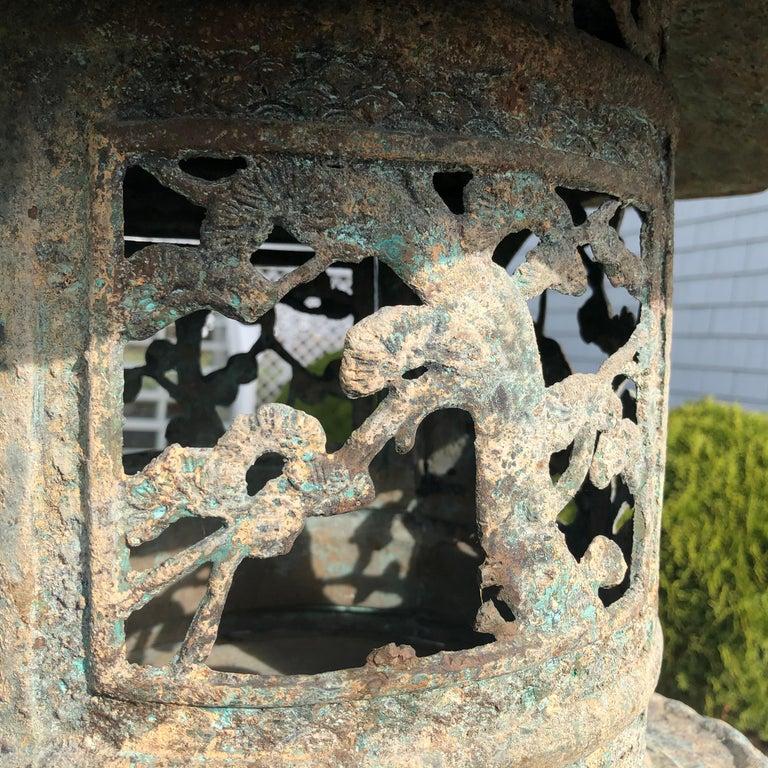 Japan Fine Tall Hand Cast Bronze Lantern, Signed 6