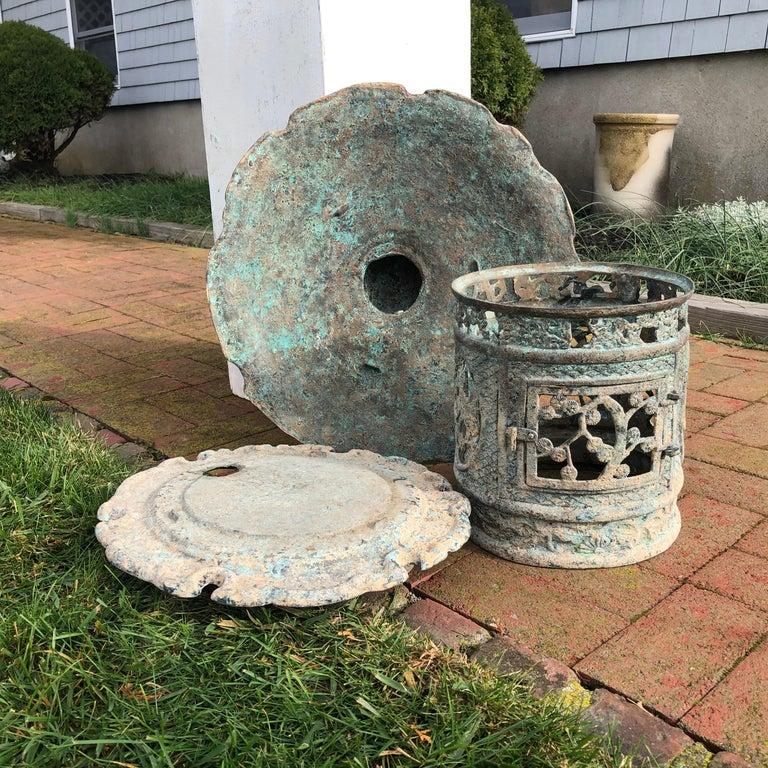 Japan Fine Tall Hand Cast Bronze Lantern, Signed 11