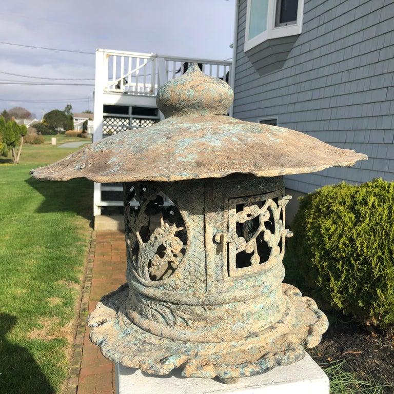 20th Century Japan Fine Tall Hand Cast Bronze Lantern, Signed