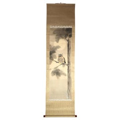 Japan Horn Owl Hand Painted Antique Silk Scroll Signed Keisen with Collector Box