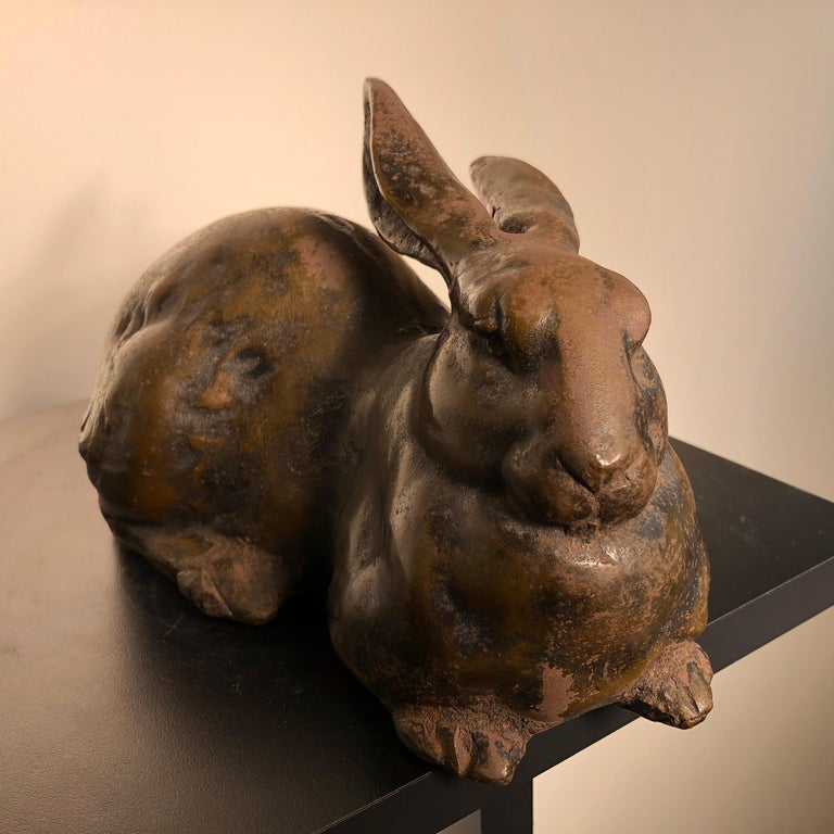 Japan Huge Antique Bronze Rabbit Usagi with Flappy Ears, Well Sculpted For Sale 4