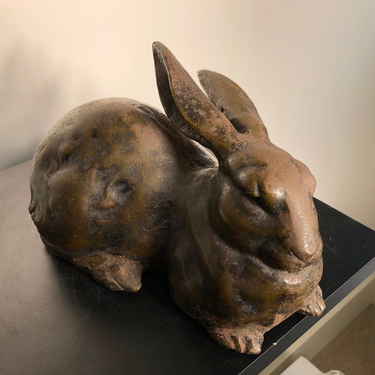 Cast Japan Huge Antique Bronze Rabbit Usagi with Flappy Ears, Well Sculpted For Sale