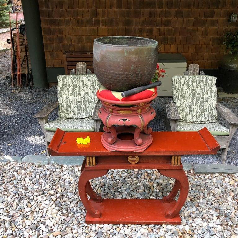 Japan Huge Bronze Antique Meditation Bell- Soothing Reverberating Sound For Sale 11