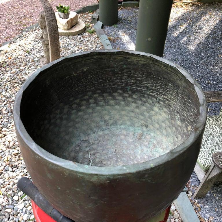 Hammered Japan Huge Bronze Antique Meditation Bell- Soothing Reverberating Sound For Sale