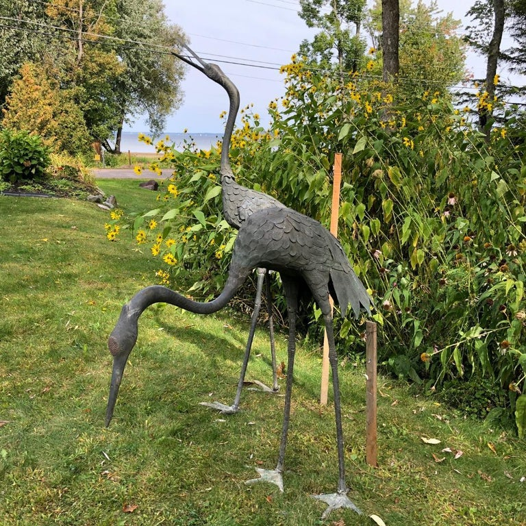 20th Century Japan Huge Pair of Cast Bronze Cranes Beautiful Feathers, Head Details For Sale