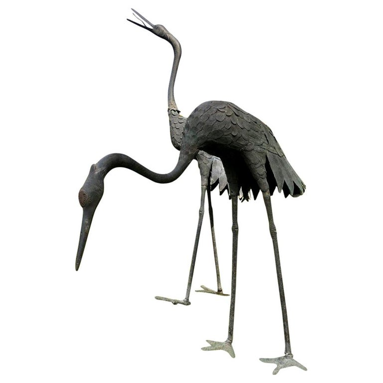 Japan Huge Pair of Cast Bronze Cranes Beautiful Feathers, Head Details For Sale