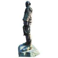 "Japan Important 1939 Bronze Life-Size ""Man and a Cape"" Masterpiece, Koga Tadao"
