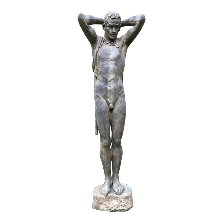 "Japan Important 1950s Cast Bronze Life-Size ""Male Nude"" Sculptor Koga Tadao For Sale"