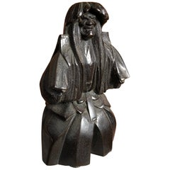 Japan Important Antique Bronze Kabuki Actor with Fine Details, Signed