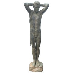"Japan Important 1950s Cast Bronze Life Size ""Male Nude"" Sculptor Koga Tadao"