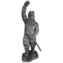 "Japan Important WWII Bronze Samurai ""Komikaze"" Pilot, Signed"