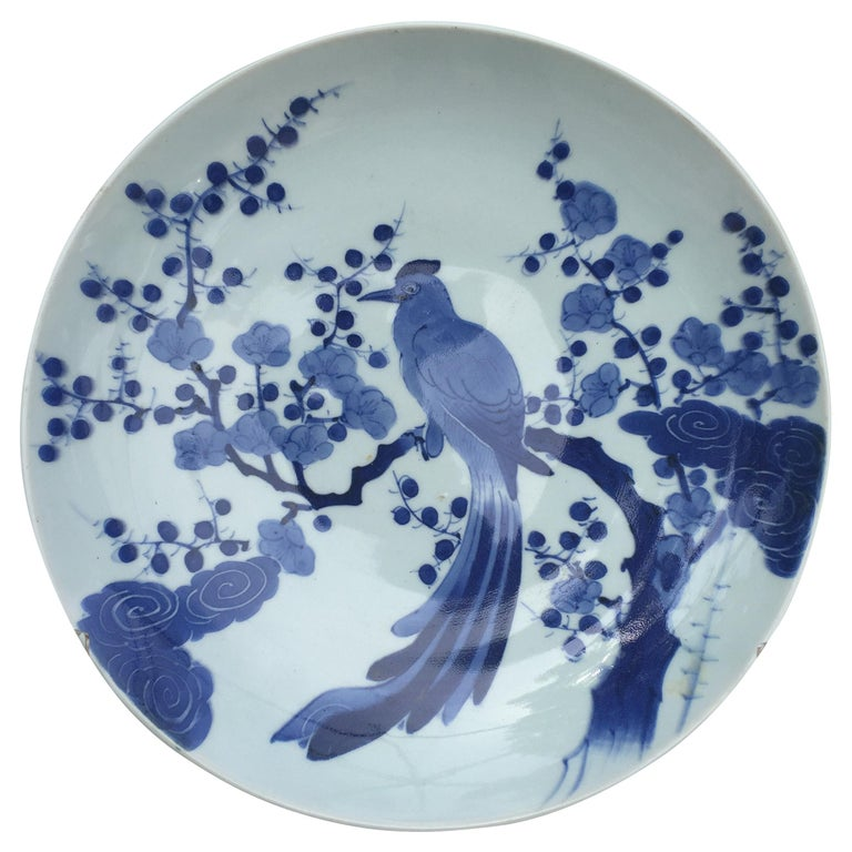 "Japan Large Antique ""BIRD CHARGER"" Hand Painted Blue and White Porcelain For Sale"