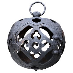 "Japan ""Moon Form"" Garden Ball Lantern with Chain 125 Years Old Tea House"