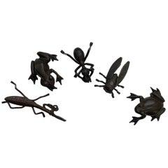 Japan Old Bronze Mantis, Ant, Fly, Frog & Toad, Collectors Dream & Fine Details