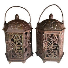 "Japan Old Pair ""Butterfly"" Flower Garden Lanterns"