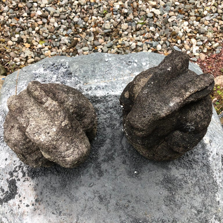 Japan Pair of Big Eared Antique Rabbits Hand Carved Stone Usagi, Meiji For Sale 9