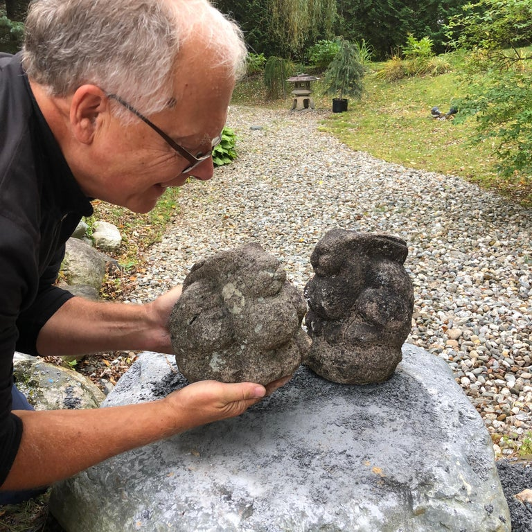 From our recent Japanese Acquisition Travels- a rare Pair  A good pair of antique hand carved 19th century granite stone rabbits. The first pair we have had the pleasure of owning- neat garden treasures from Japan.   These are finely crafted