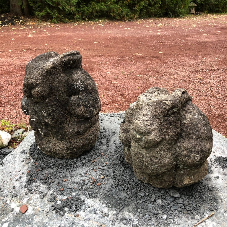 Japanese Japan Pair of Big Eared Antique Rabbits Hand Carved Stone Usagi, Meiji For Sale