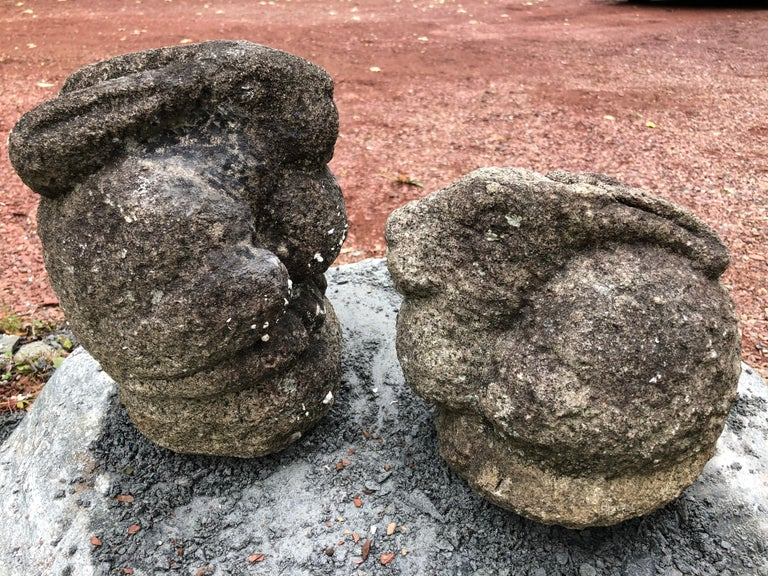 Japan Pair of Big Eared Antique Rabbits Hand Carved Stone Usagi, Meiji In Good Condition For Sale In Shelburne, VT