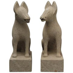 Japan Pair of Hand Carved Stone Fox Kitsune, Old Inari Temple