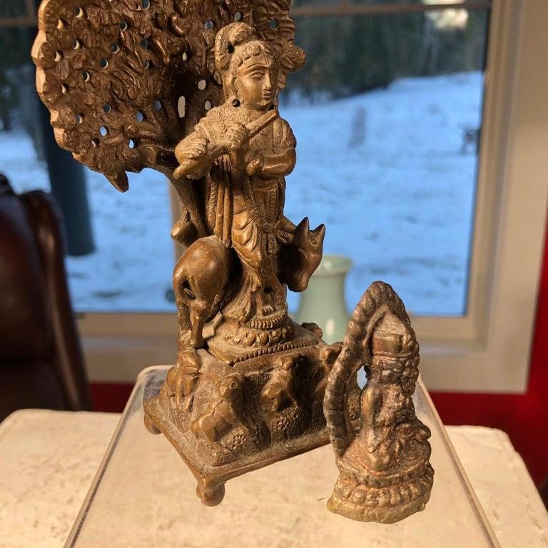 Vintage Hand Cast Bronze Indian Krishna Player Tibetan Attendant Dharmapala Pair For Sale 5