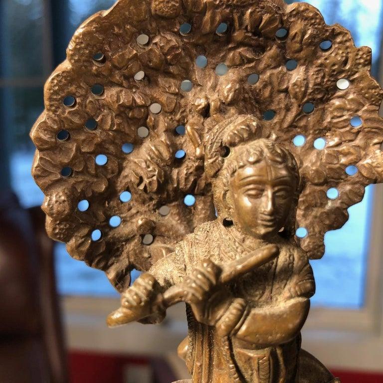 Vintage Hand Cast Bronze Indian Krishna Player Tibetan Attendant Dharmapala Pair In Good Condition For Sale In Shelburne, VT