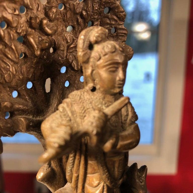 Vintage Hand Cast Bronze Indian Krishna Player Tibetan Attendant Dharmapala Pair For Sale 1