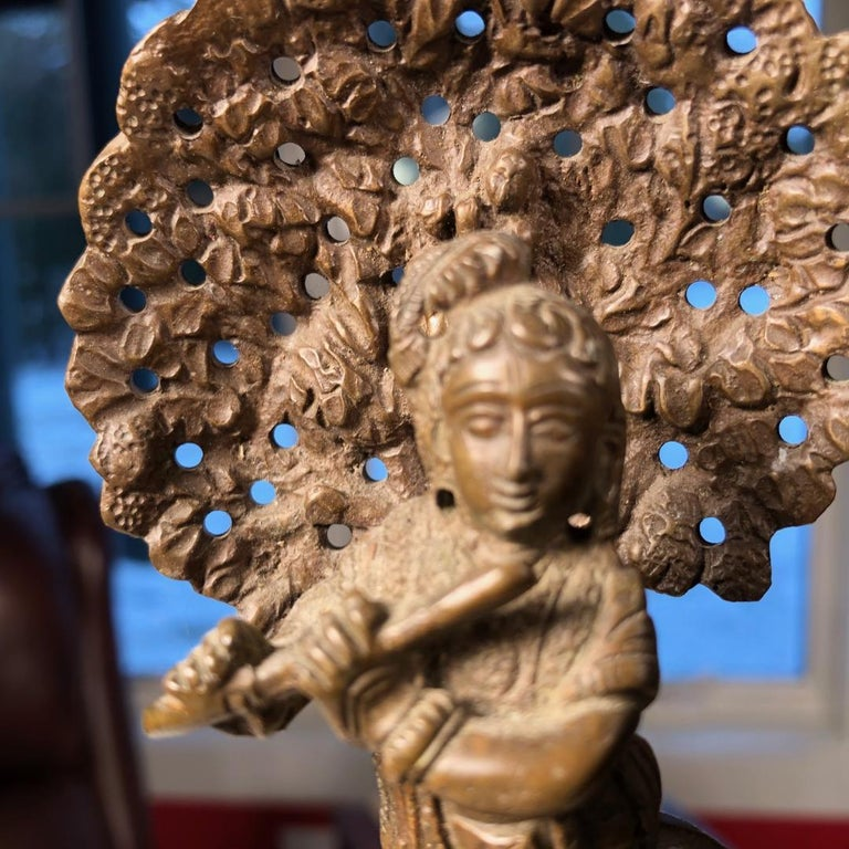 Vintage Hand Cast Bronze Indian Krishna Player Tibetan Attendant Dharmapala Pair For Sale 2