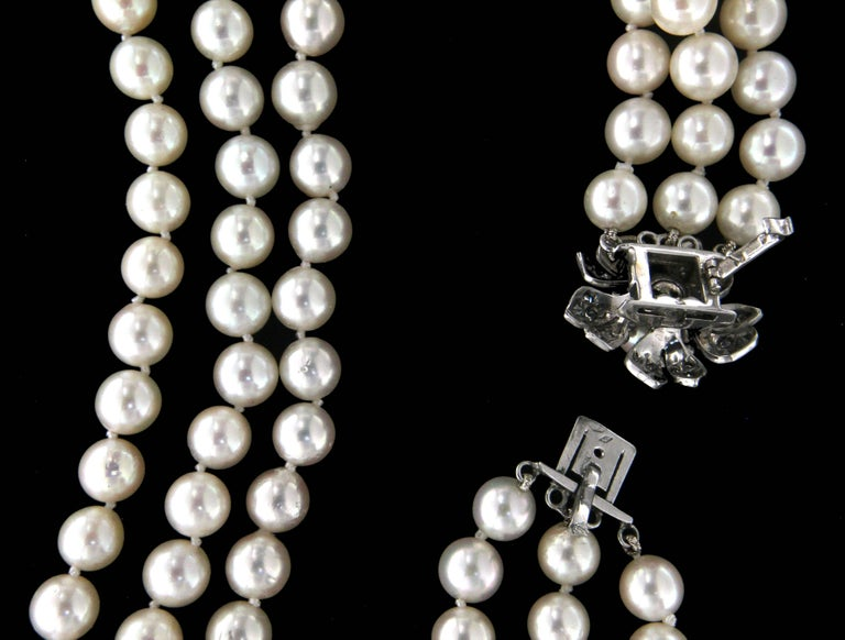 Japan Pearls Multi-Strand Necklace In New Condition For Sale In Marcianise, IT