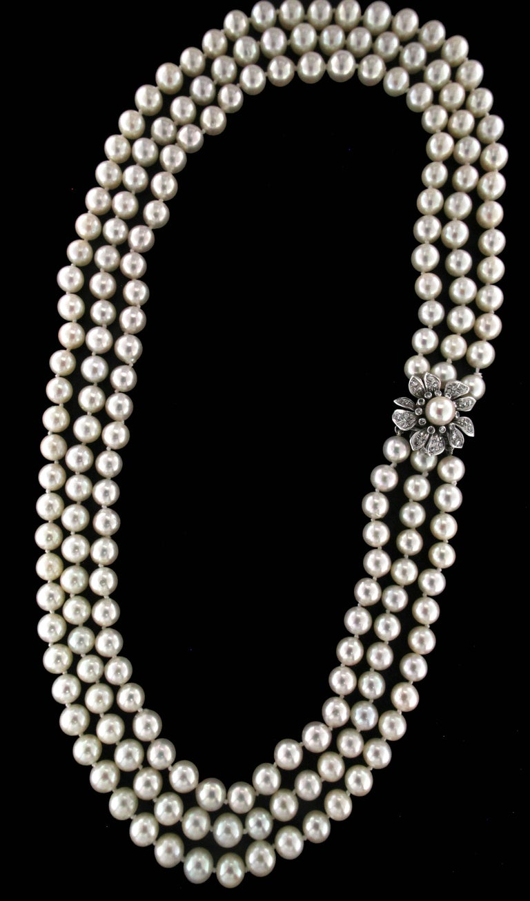 Women's or Men's Japan Pearls Multi-Strand Necklace For Sale