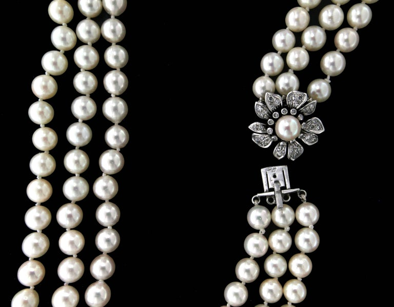 Japan Pearls Multi-Strand Necklace For Sale 1