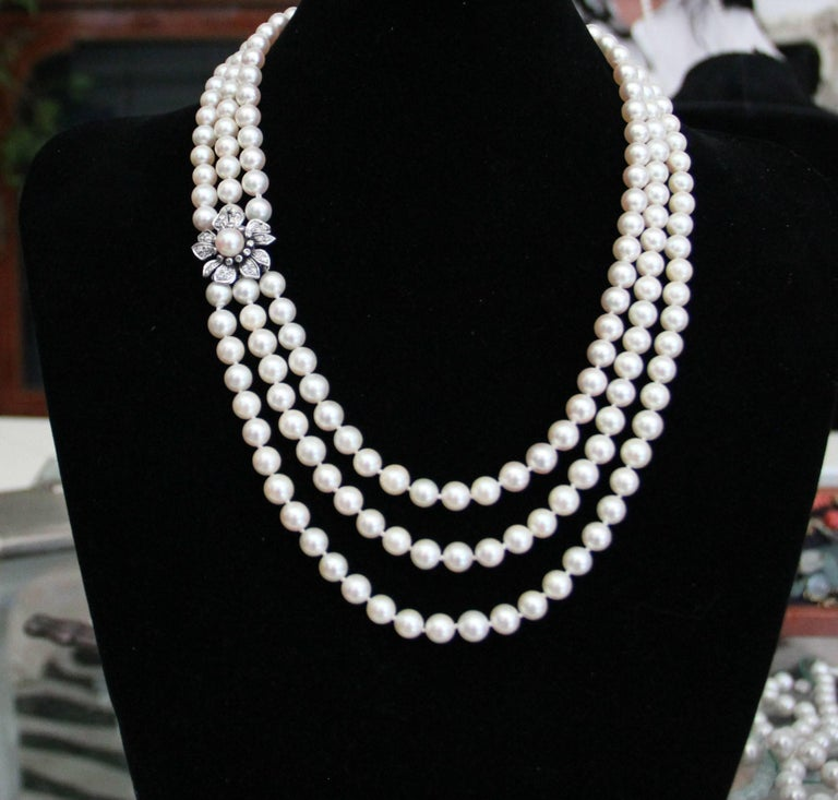 Japan Pearls Multi-Strand Necklace For Sale 3