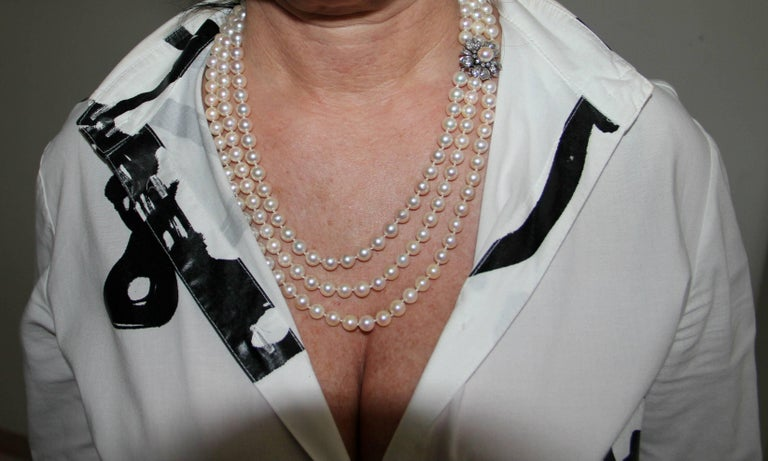 Japan Pearls Multi-Strand Necklace For Sale 4