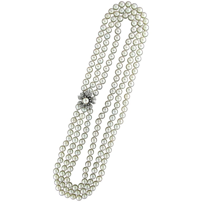 Japan Pearls Multi-Strand Necklace For Sale