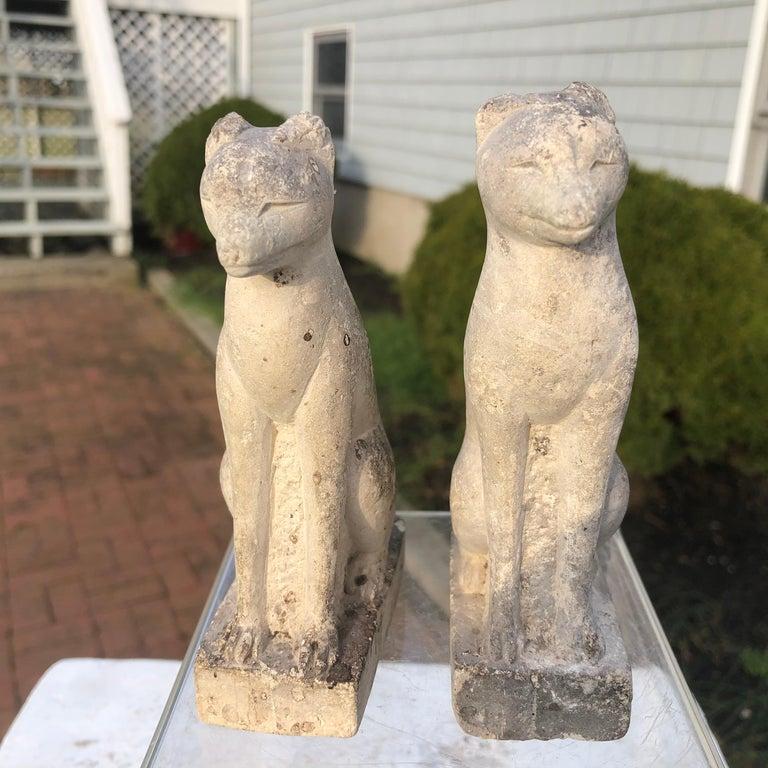 Japan Rare Pair of Hand Carved Stone Inari Fox Kitsune, Old Inari Shrine For Sale 3