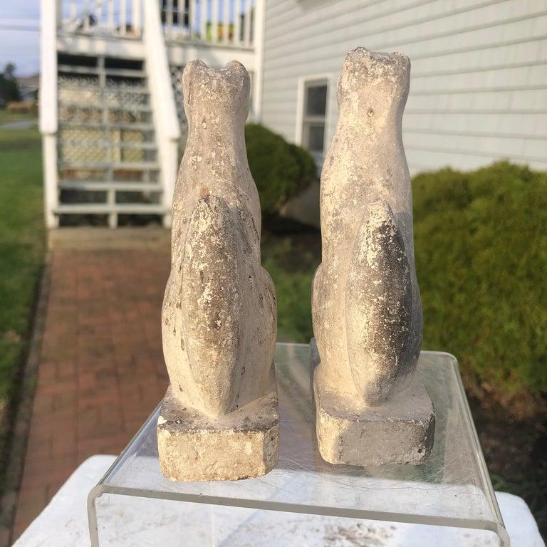 Japan Rare Pair of Hand Carved Stone Inari Fox Kitsune, Old Inari Shrine For Sale 6