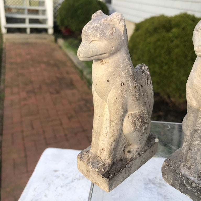 Japanese Japan Rare Pair of Hand Carved Stone Inari Fox Kitsune, Old Inari Shrine For Sale