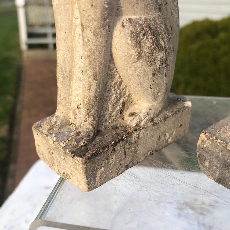 20th Century Japan Rare Pair of Hand Carved Stone Inari Fox Kitsune, Old Inari Shrine For Sale