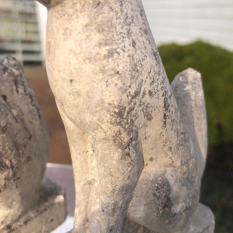 Japan Rare Pair of Hand Carved Stone Inari Fox Kitsune, Old Inari Shrine For Sale 1